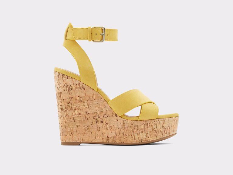 yellow high wedding wedge heel