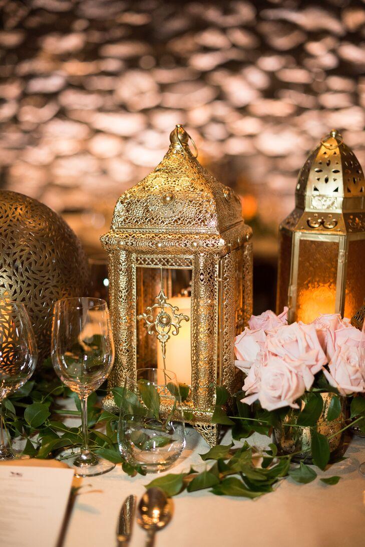 Elegant Hindu-Inspired Gold Lanterns