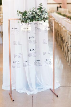 Acrylic Seating Chart with Gold Easel and Greenery