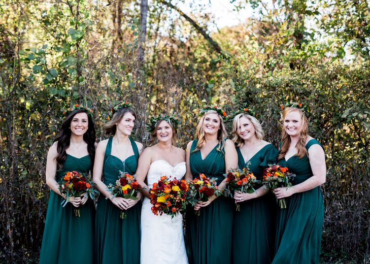 Jogee selected the rich, green color of the bridesmaid dresses but she was open to different—she wanted her bridesmaids to wear what they felt comfortable in.