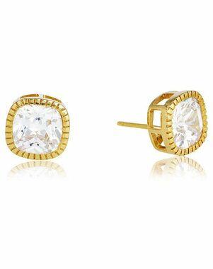 Thomas Laine Lucille Cushion Cut Stud Earrings - Yellow Gold Wedding Earring photo