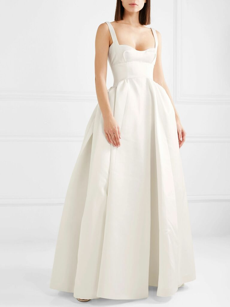 Duchesse satin ball gown with sweetheart neckline and corset bodice