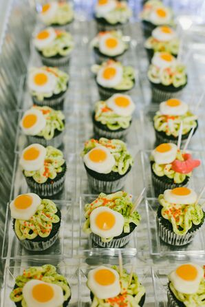 Foodie Cupcakes with Noodle and Egg Design