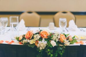 Orange and White Flower Centerpieces
