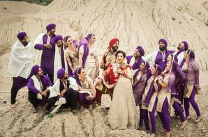 Gold and Purple Punjabi Wedding Party Attire