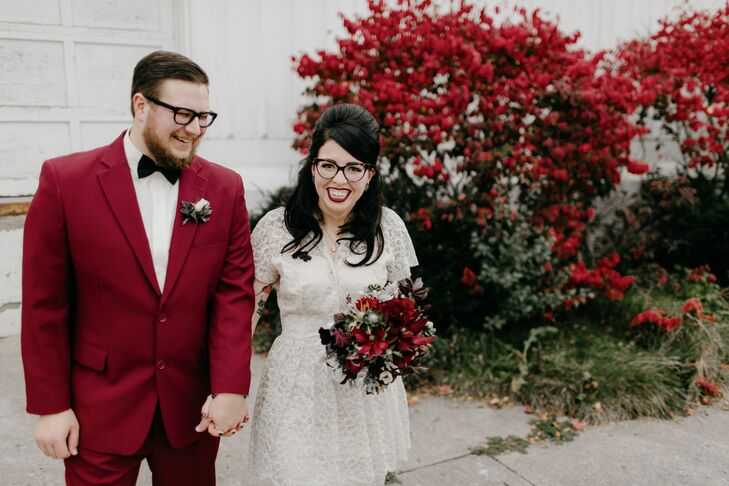 Bride with a Retro Half-Updo and a Groom in a Burgundy Suit