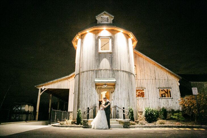 Newlyweds Outside Rosebank Winery Barn
