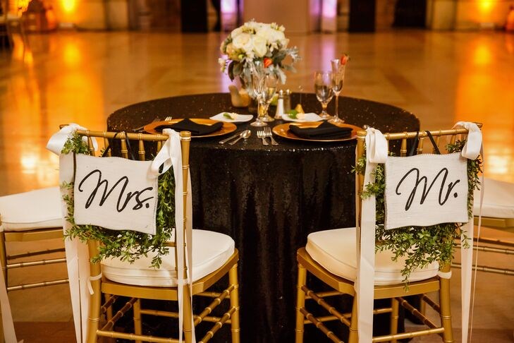 Sweetheart Table with Couple Chair Signs
