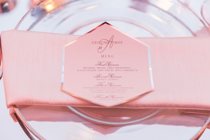 Pink Hexagon Dinner Menu
