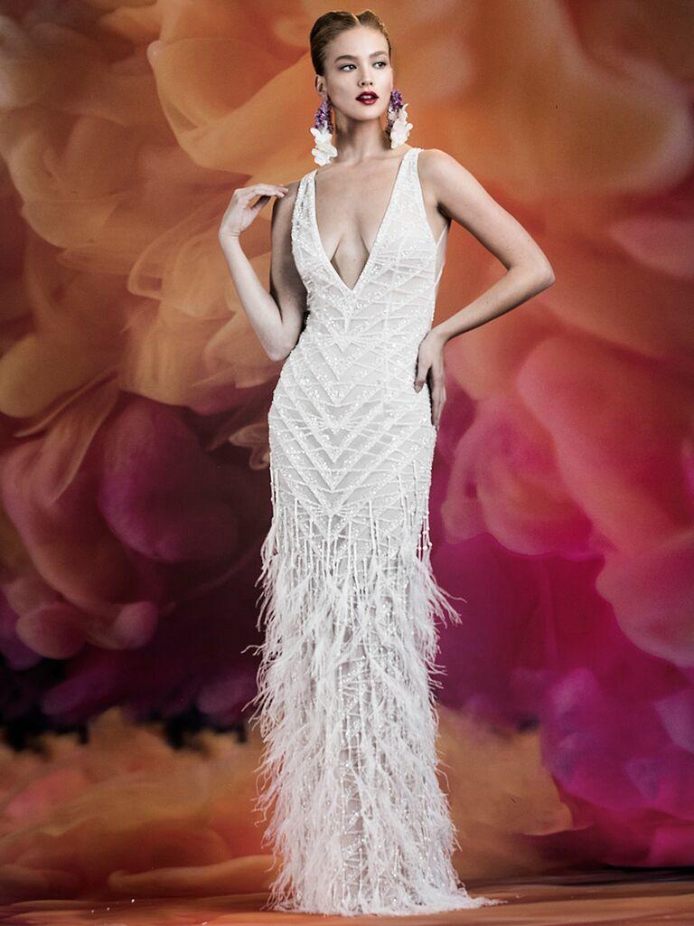 Naeem Khan wedding dress v-neck column dress with fringe skirt