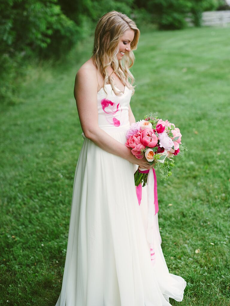 White strapless wedding dress with pink watercolor design