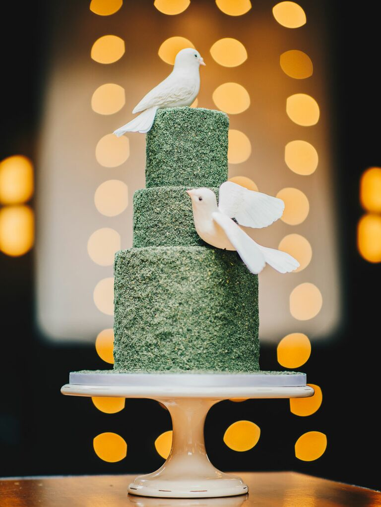 Green three-tier bridal shower cake with dove decorations