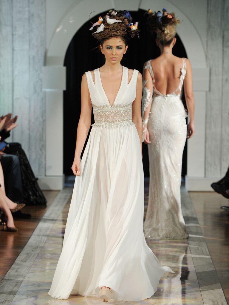 Dany Mizrachi Fall 2019 split strap V-neck wedding dress