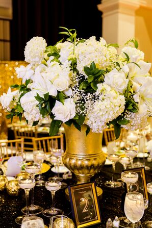Hydrangeas, Lilies and Roses in a Glamorous Gold Vase