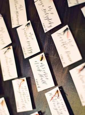 Calligraphed Escort Cards with Fly Fishing Theme