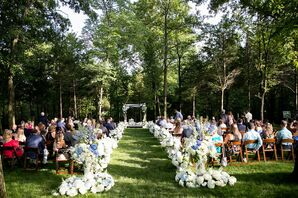 Romantic Backyard Ceremony with Hydrangea Aisle Decorations