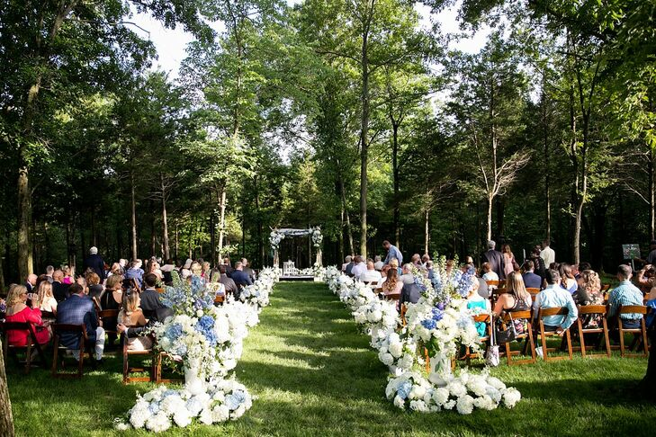 Romantic Backyard Ceremony with Hydrangea Aisle Decorations