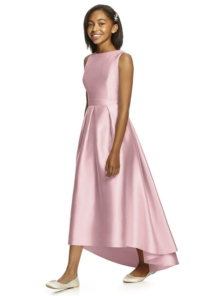 Short junior blush bridesmaid dress