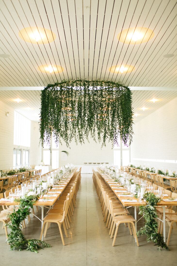 Natural Reception Space with Hanging Greenery Fixture