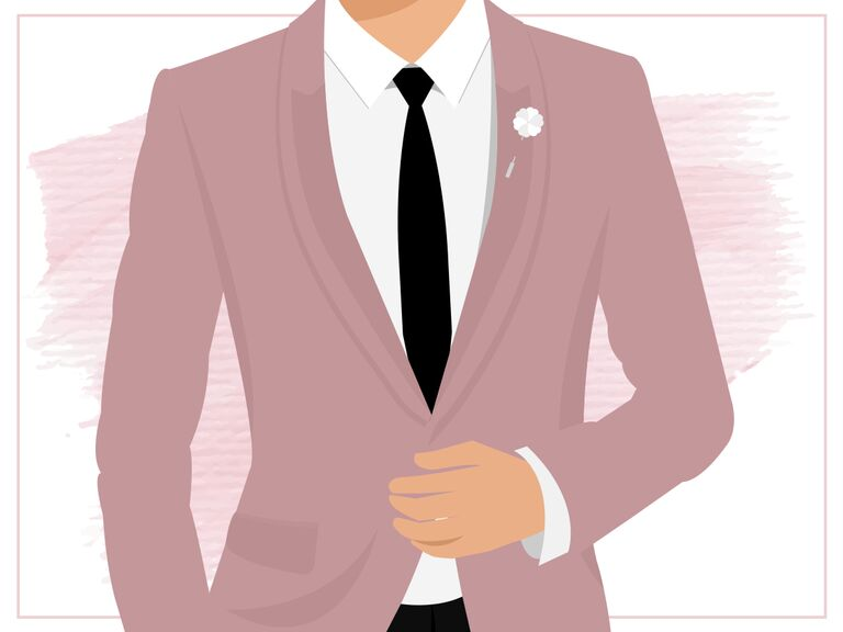 illustration of a person in a mauve suit jacket, white shirt and black tie