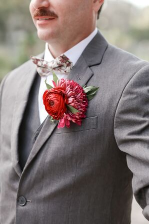 Tropical Red and Pink Boutonniere