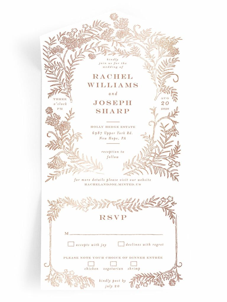 Minted metallic foil spring wedding invitation