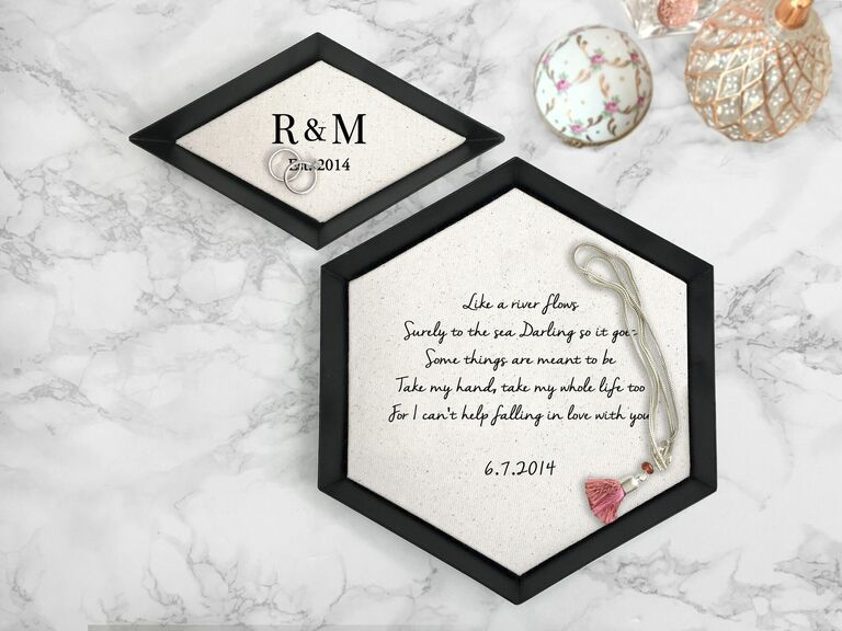 Small and large cotton trinket trays with couple's initials and romantic song lyrics