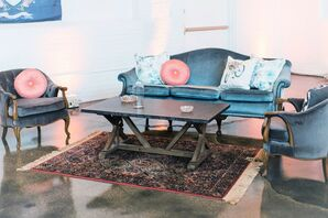Blue Lounge Furniture and Wood Table