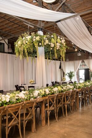 Floral Table Runners and Greenery-Draped Chandelier