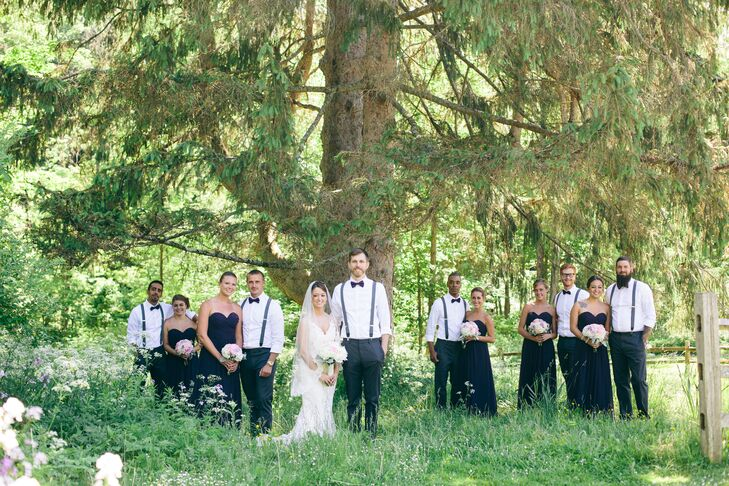 Bride and Groom with Plum Wedding Party