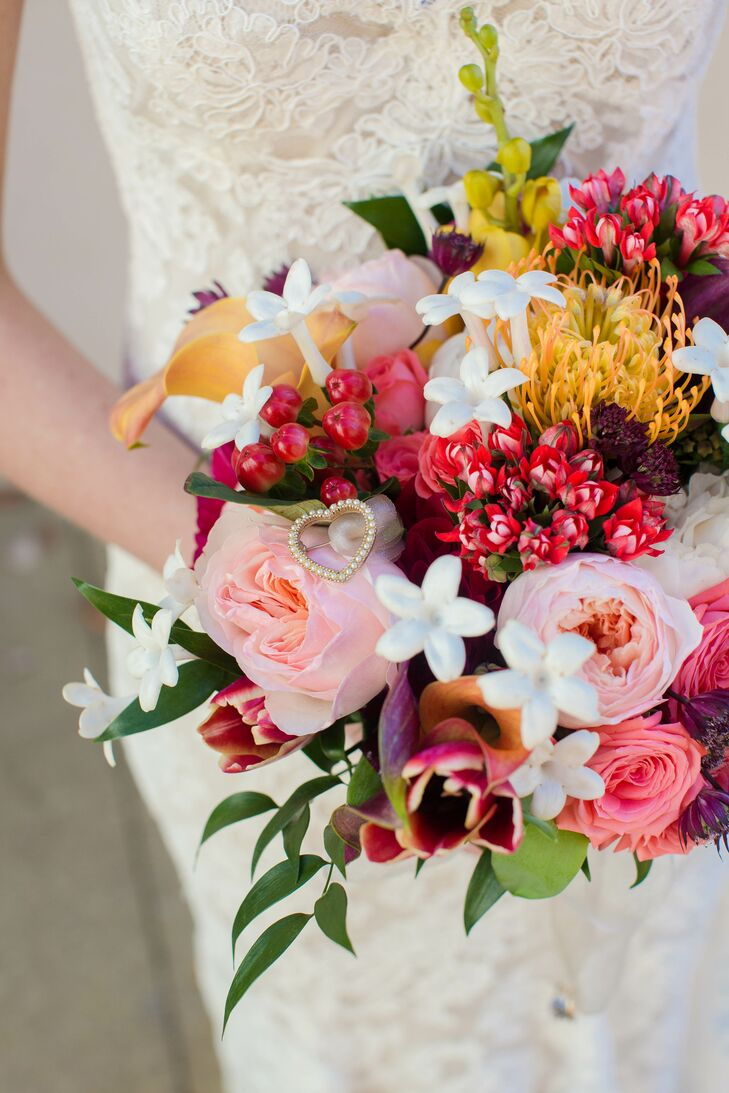 Bride's Bouquet with Tweedia, Roses, Hypericum Berries and Carnations