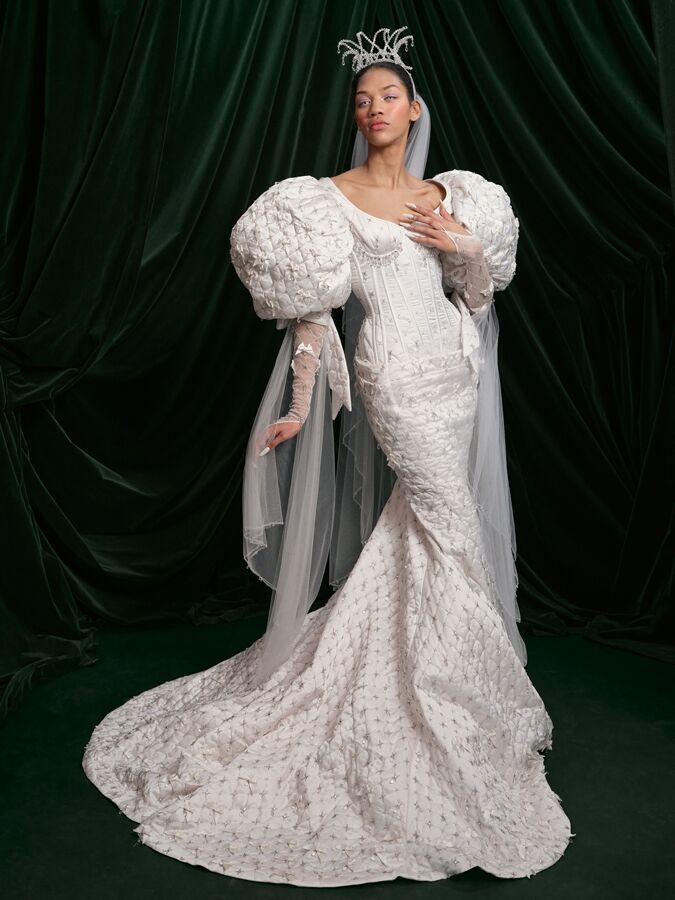 Wiederhoeft silk satin trumpet wedding gown with oversized shoulders