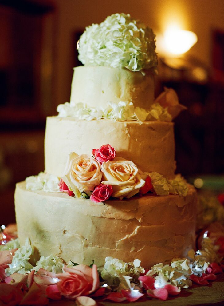 Rose and Hydrangea Decorated Cake