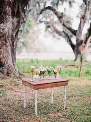Vintage Table Altar with Low Floral Accents