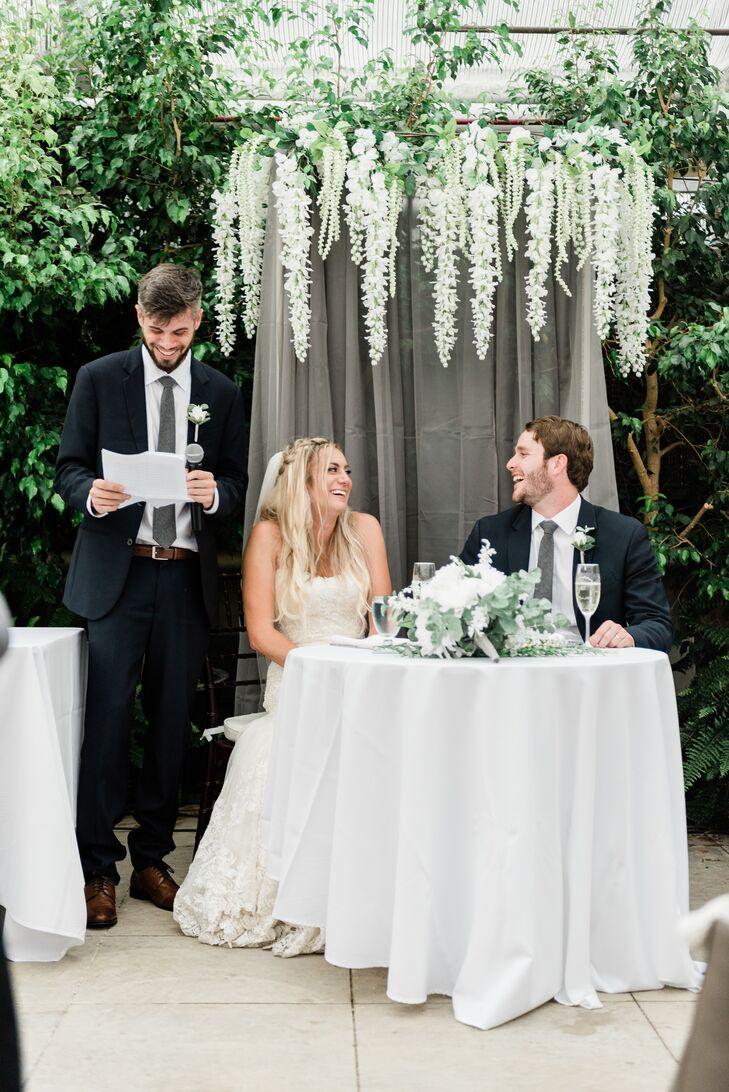 Wedding Toasts at Elegant Sweetheart Table