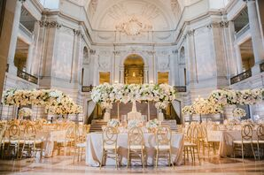 Romantic Ivory and Gold City Hall Reception