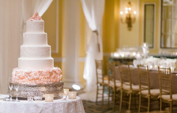 Ivory Wedding Cake With Blush Cake Flowers