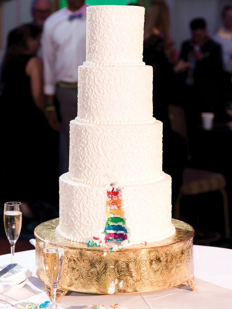 Simple wedding cake with rainbow interior