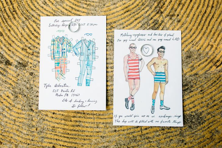 Custom Paper Doll Inspired Invitations