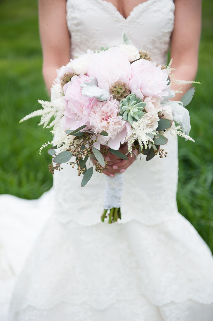 """""""I love the rustic feel of our venue and wanted flowers and a color pattern that didn't overpower the views and beauty of the Colorado landscape,"""" Madeline says. Wedding planners Bello & Blue Events created her stunning bouquet using pink peonies, green succulents, scabiosa pods, astilbes and seeded eucalyptus."""