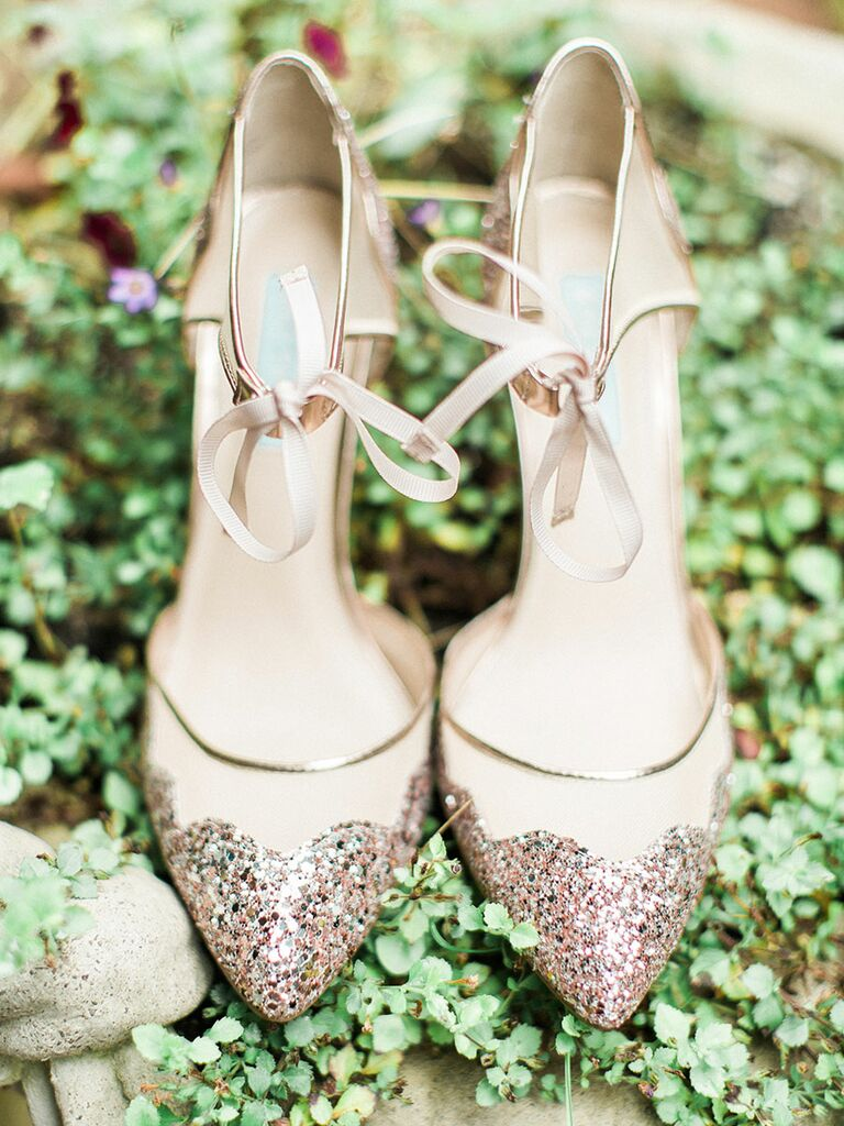 Nude wedding shoe high heels with sparkles