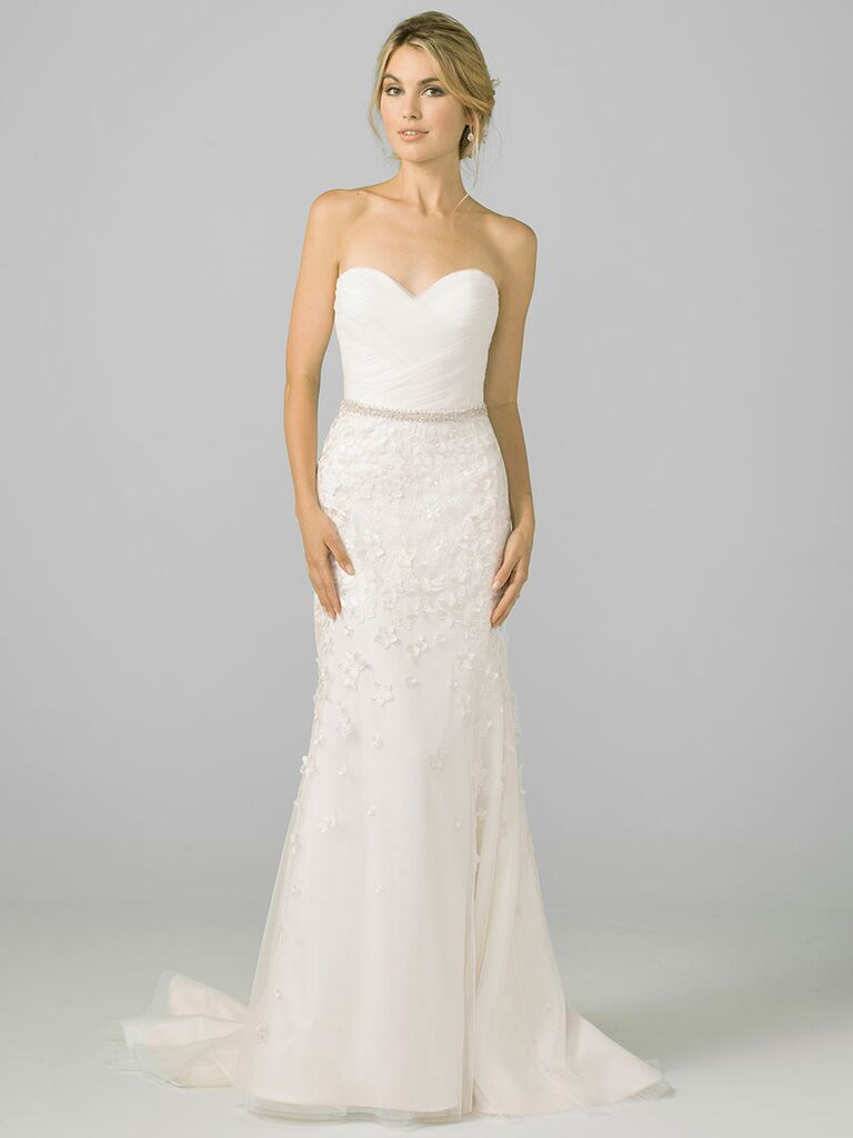 Azul by Liancarlo Fall 2018 wedding dresses strapless gown with belt and embroidered skirt