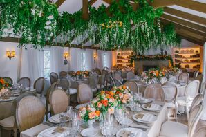 Chic Garden Reception with Suspended Florals