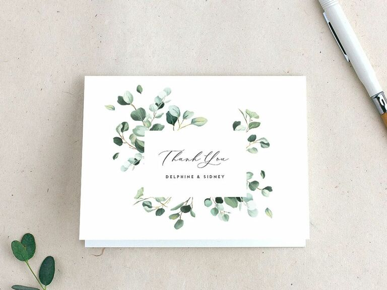 Bottanical wedding thank-you card from The Knot Invitations