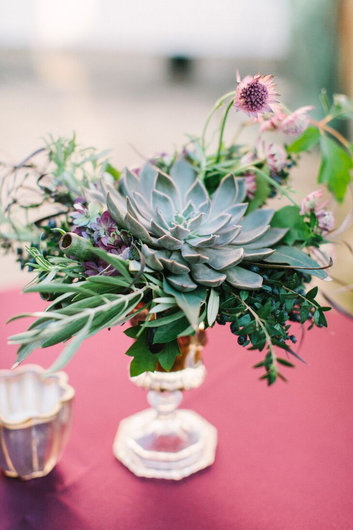 Textured Succulent Cocktail Hour Centerpieces