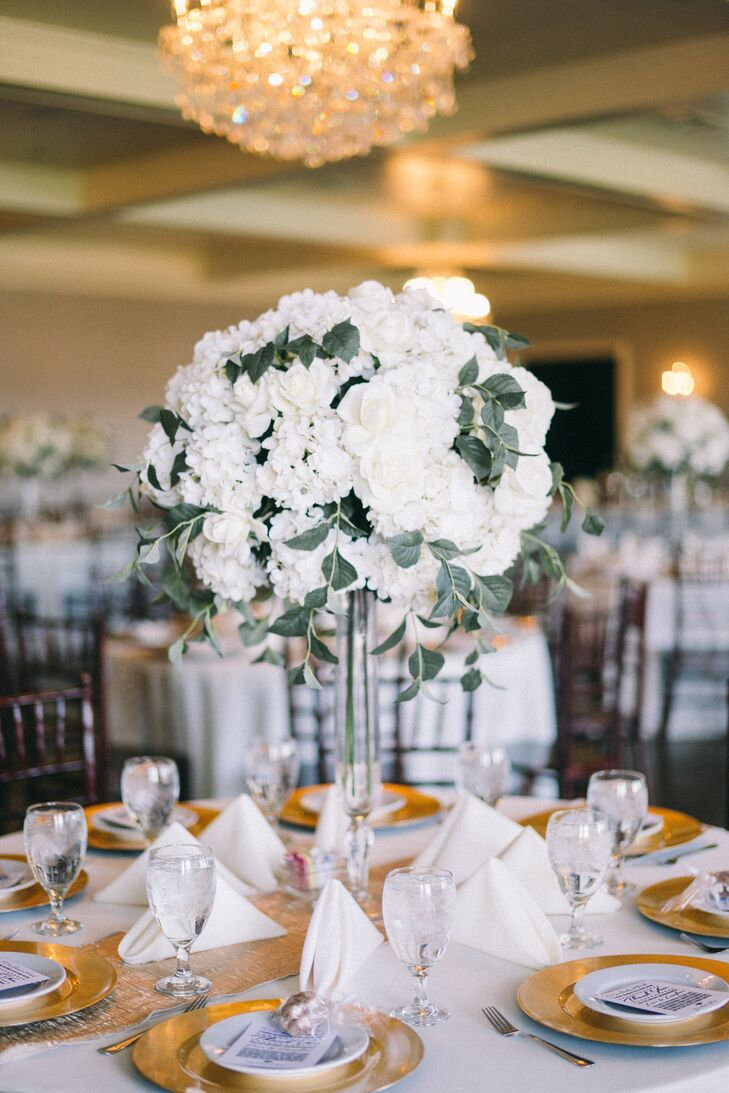Tall Ivory Reception Table Floral Centerpieces
