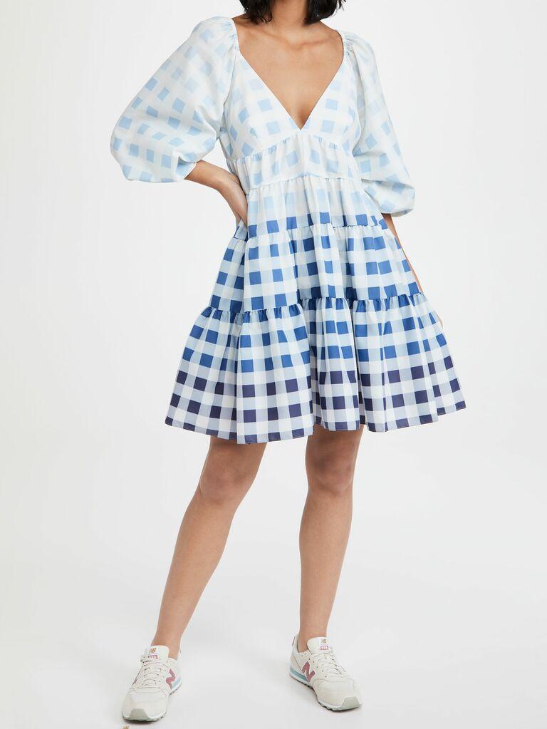 STAUD blue gingham mini dress with puff sleeves