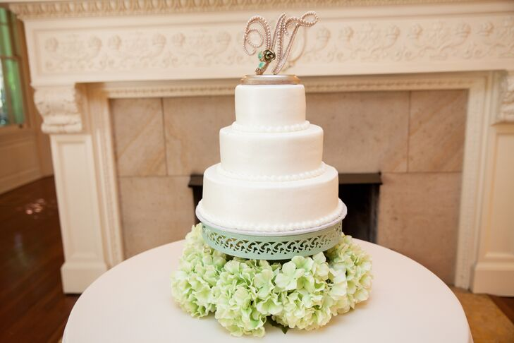 The three-tier of white cake displayed on top of a  mint green stand, with green hydrangeas—one of Sicilia's favorite flowers—arranged under the sweet treat.