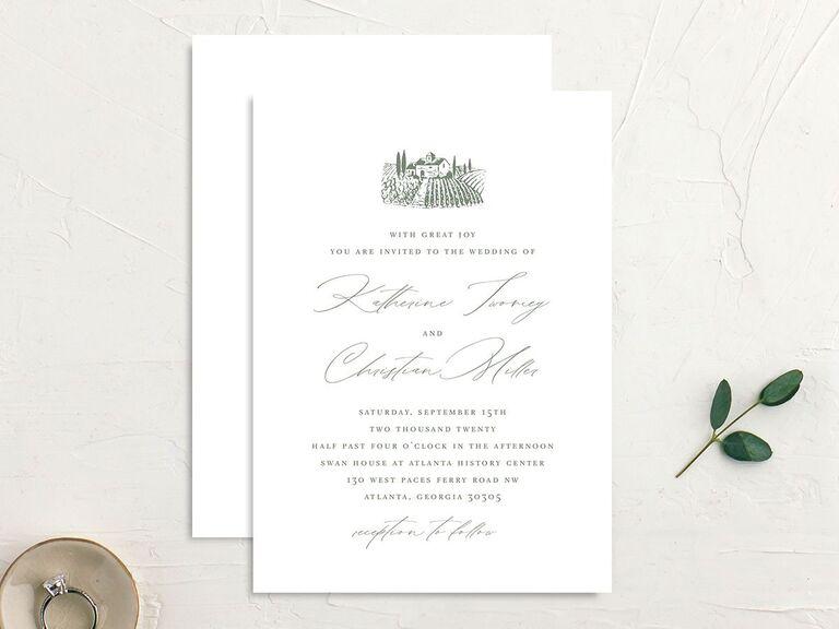 Country setting wedding invitation
