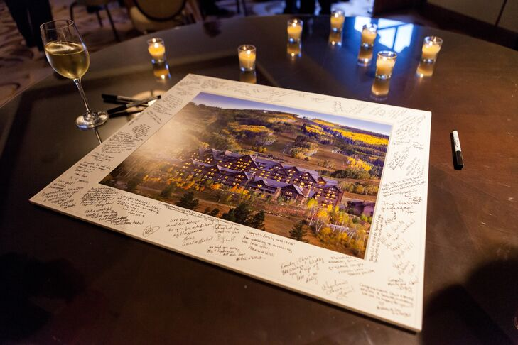Guests signed a mounted photo of the wedding venue.